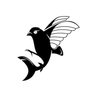 Pássaro com vetor híbrido de cauda de tubarão