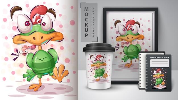 Pássaro com worm pôster e merchandising