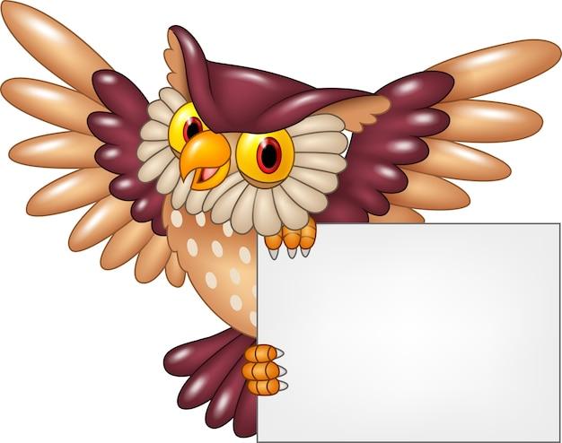 Pássaro de coruja desenho voando em branco sinal
