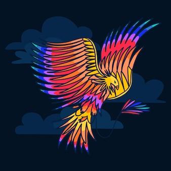 Pássaro de fênix de estilo mão desenhada