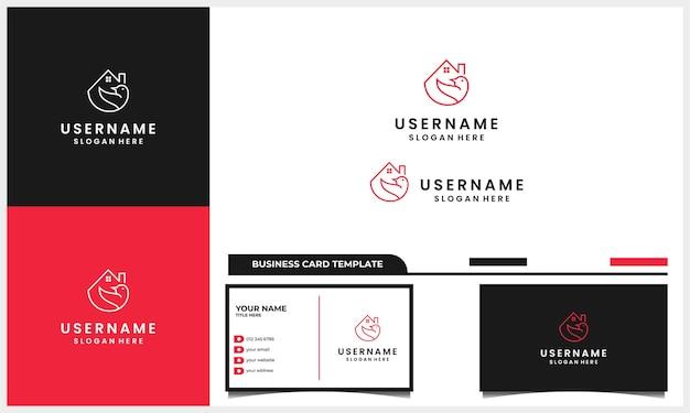Pássaro de linha de arte com conceito de design de logotipo de casa ou casa e modelo de cartão de visita