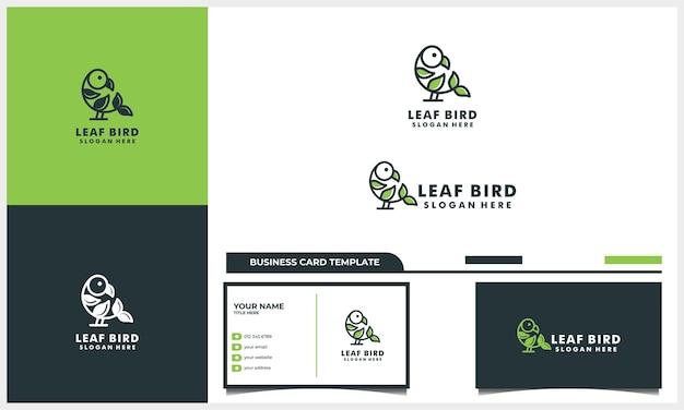 Pássaro de linha de arte com conceito de design de logotipo de folha da natureza e modelo de cartão de visita
