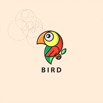 Pássaro de logotipo de ícone com estilo de grade