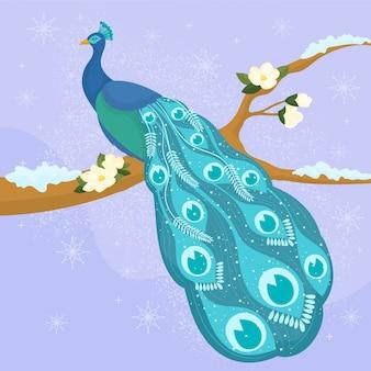 Pássaro de pavão mágico