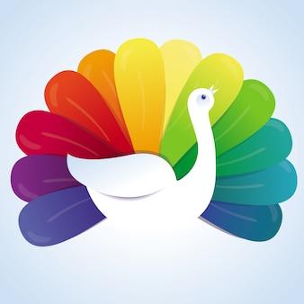 Pássaro de pavão vector com penas de arco-íris - conceito abstrato