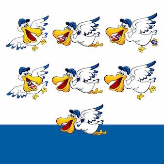 Pássaro de pelicano dos desenhos animados voando e trazer carros