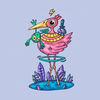 Pássaro de pernas longas. ilustração criativa. arte dos desenhos animados para web e impressão.