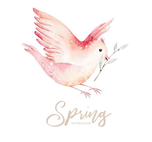 Pássaro de primavera no galho florescendo com folhas verdes e flores.