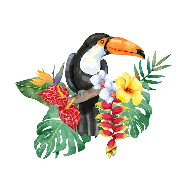 Pássaro de tucano desenhado mão com flores tropicais