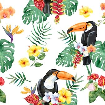 Pássaro de tucano desenhado mão com padrão de flores tropicais