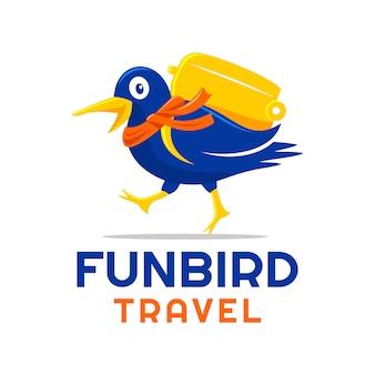 Pássaro divertido vai viajar design de logotipo