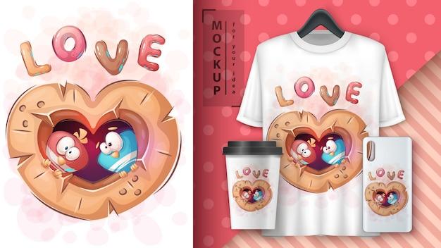 Pássaro do amor - cartaz e merchandising.