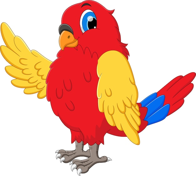 Pássaro dos desenhos animados acenando no fundo branco