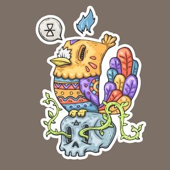 Pássaro dos desenhos animados com ornamento tribal, sentado em um crânio.