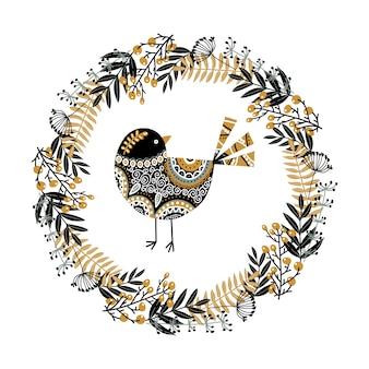 Pássaro e uma coroa de plantas, flores e frutos
