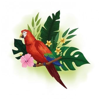 Pássaro exótico e desenho de flores tropicais