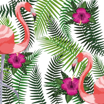Pássaro exótico e fundo de folhas tropicais