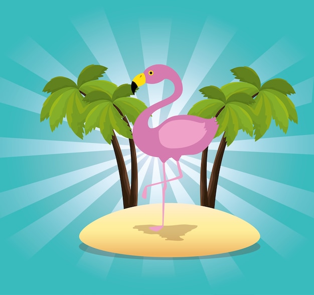 Pássaro exótico flamingo na concepção de ilustração vetorial praia
