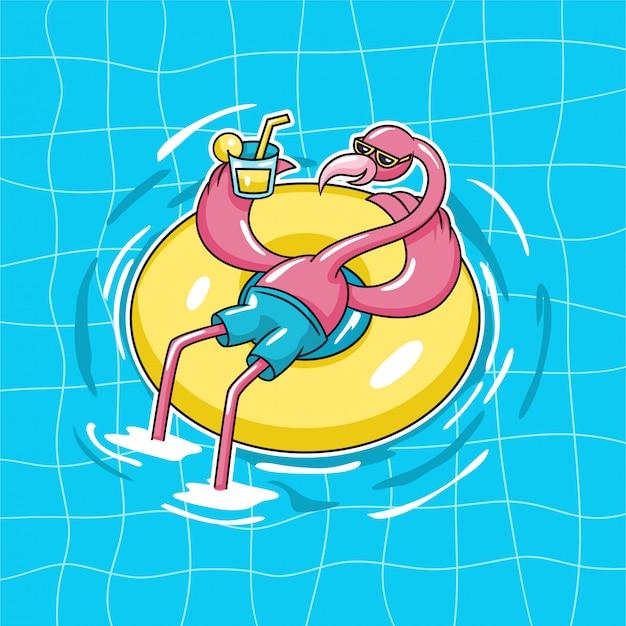 Pássaro exótico flamingo sentado na bóia da piscina de donut usar óculos de sol e beber suco de laranja na ilustração em vetor personagem piscina água