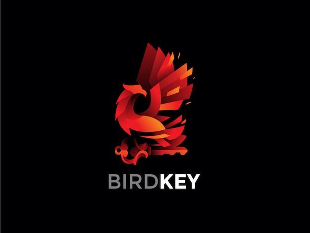 Pássaro fênix, segurando a chave logotipo design ilustração