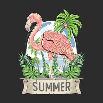 Pássaro flamingo rosa com vetor de verão tropical de árvore de coco