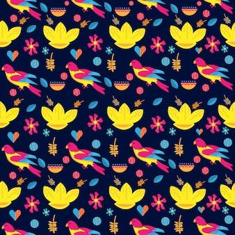 Pássaro flor sakura guindaste japonês chinês design vetor padrão sem emenda