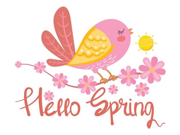 Pássaro fofo e flor, olá ilustração de cartão de primavera