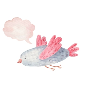 Pássaro fofo e ícone do pensamento, nuvem, aquarela de ilustração infantil