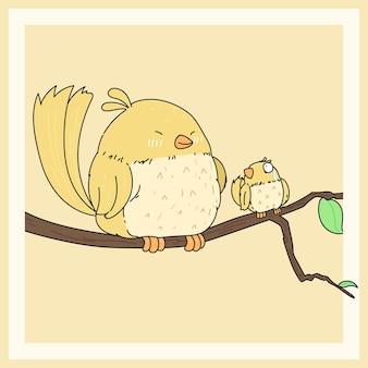 Pássaro gordo amarelo engraçado e sua ilustração de pequeno amigo.