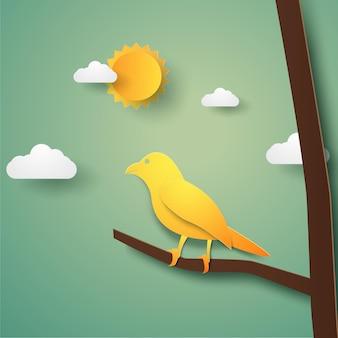 Pássaro no galho na temporada de outono em estilo de arte em papel