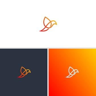 Pássaro no logotipo de arte linha