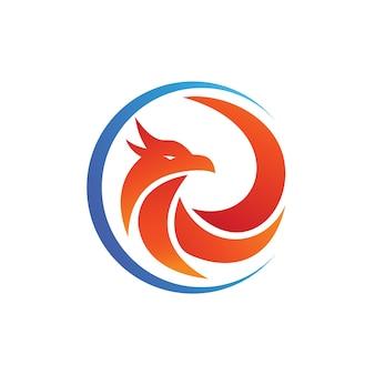 Pássaro no modelo de logotipo do círculo