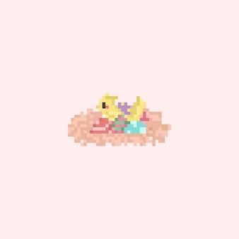 Pássaro pastel de pixel com ovos de páscoa no ninho