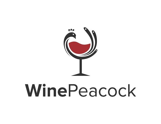Pássaro pavão com vinho de vidro simples, criativo, geométrico, elegante, moderno, design de logotipo