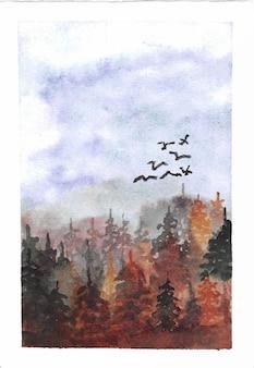 Pássaro preto voando através de uma floresta de pinheiros arborizados