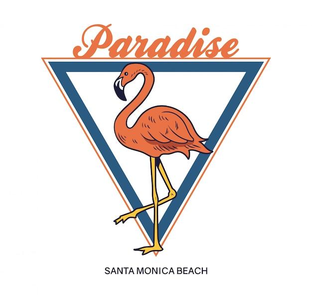 Pássaro selvagem do paraíso tropical do paraíso tropical lindo flamingo rosa.