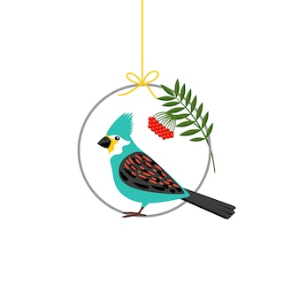 Pássaro sentado no círculo