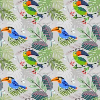 Pássaro toucan bonito no padrão de floresta.