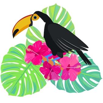 Pássaro tropical tucano monstera deixa folhas exóticas e ilustração vetorial de estoque de flores