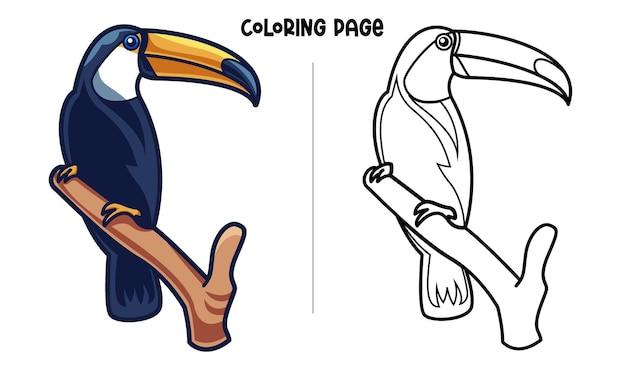 Pássaro tucano em pé em um galho
