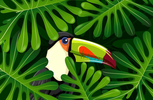 Pássaro tucano escondido na selva