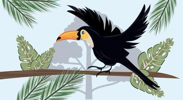 Pássaro tucano selvagem voando na cena da selva