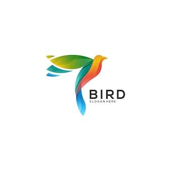 Pássaro voando gradiente logotipo colorido