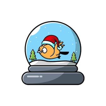 Pássaro voar cúpula personagem de natal logotipo fofo