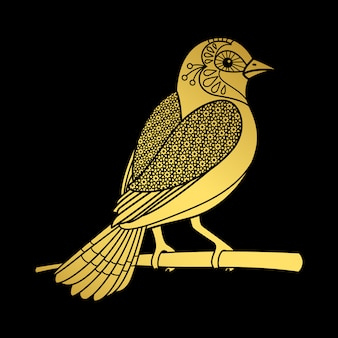 Pássaro zentangle ouro