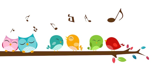Pássaros cantando no galho
