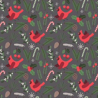 Pássaros cardinais de padrão sem emenda de vetor de natal ilustração de férias com elementos tradicionais