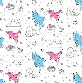 Pássaros casal sem costura padrão no estilo de doodle kawaii