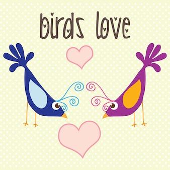 Pássaros coloridos adoram ilustração em vetor vintage fundo