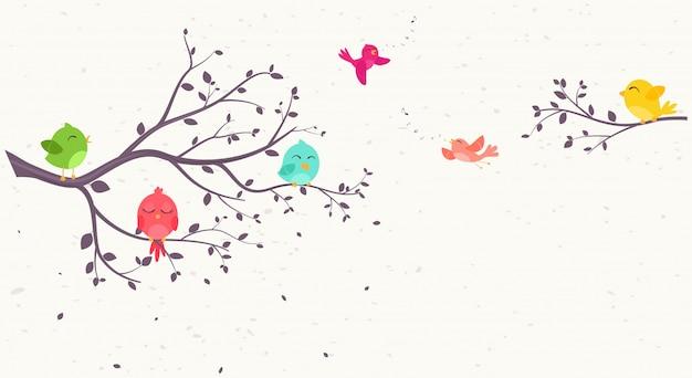 Pássaros coloridos em belas árvores